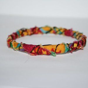 Colorful fabric and wire bracelet